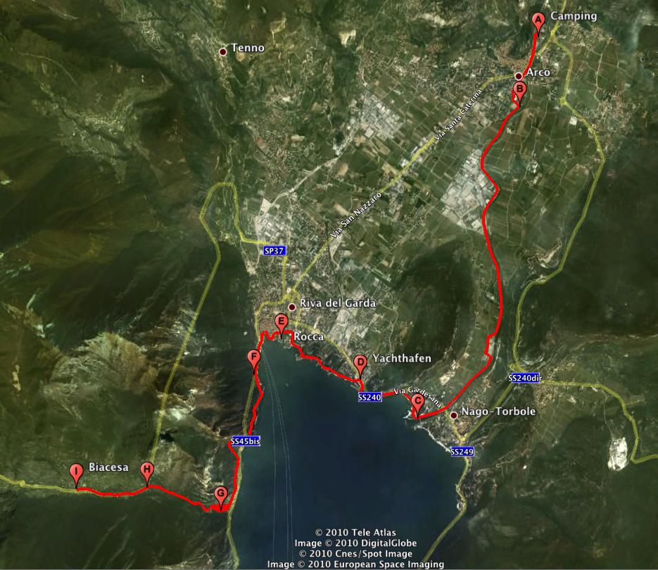 Karte Radtour  - Arco-Biacesa
